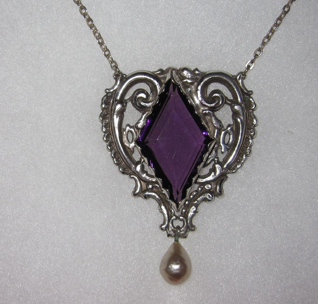Vintage Silverplate Pendant Necklace Purple