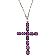 Vintage Large Cross Pendant on Long Chain