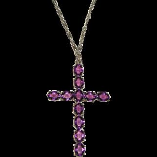 Vintage Large Cross Pendant on Long Chain