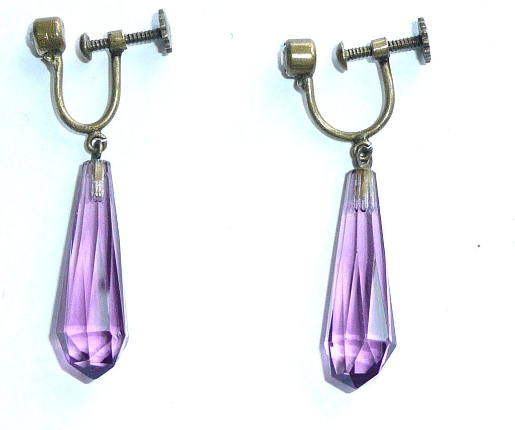 Wonderful Purple Glass Vintage Drop Earrings
