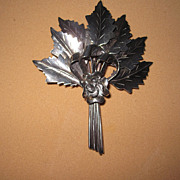 Vintage Sterling Raffaele Large Brooch Leaves