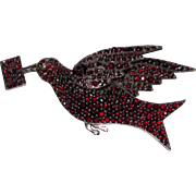 Beautiful Rare Victorian Bohemian Garnet Bird with Letter Brooch