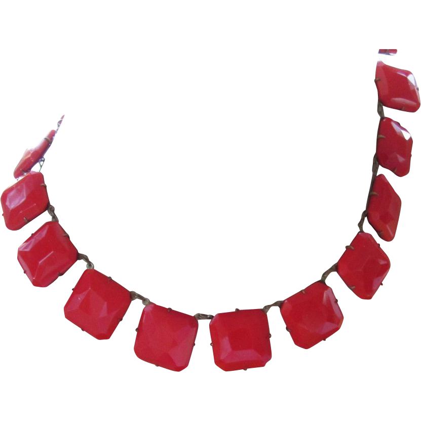 Vintage Lipstick Red Glass Choker