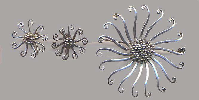Sterling Modern Brooch with Earrings