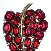 Large Red Rhinestone Dress Clip Leaf
