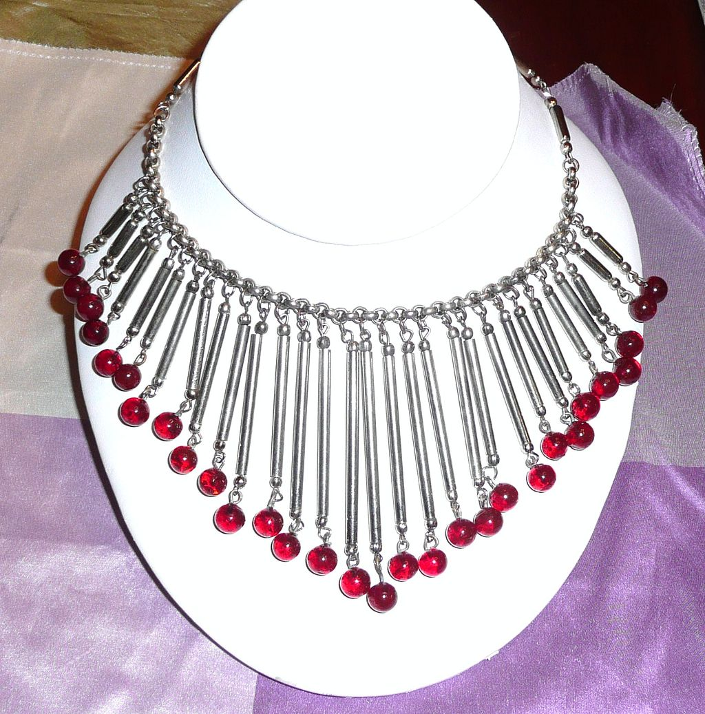 Awesome Fringe Necklace with Poured Glass Beads Red