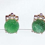 Reja Green Peking Glass Clip Earrings