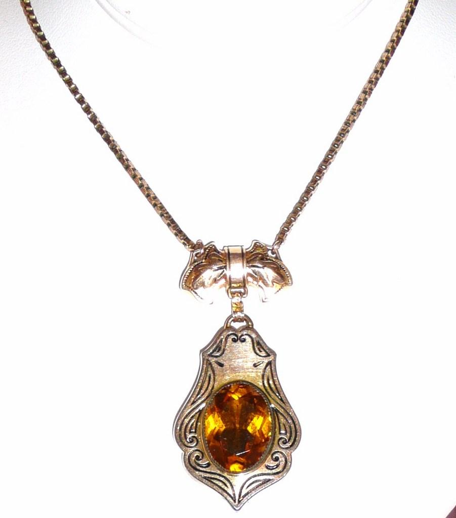 Victorian Revival Necklace Ornate Pendant