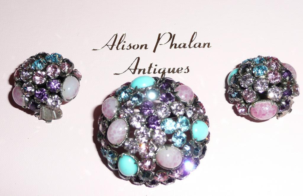 Vintage Pastel Rhinestones brooch and Earrings