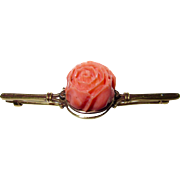 Victorian Huge Carved Coral Rose Brooch 14K