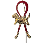 Spanial Dog 14K Red Enamel Stick Pin Fine