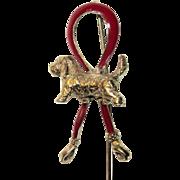 Spanial Dog 14K Red Enamel Stick Pin Fine