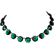 Vintage Large Rivière Necklace Choker Green