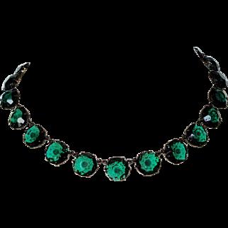 Vintage Large Rivière Necklace Choker Green