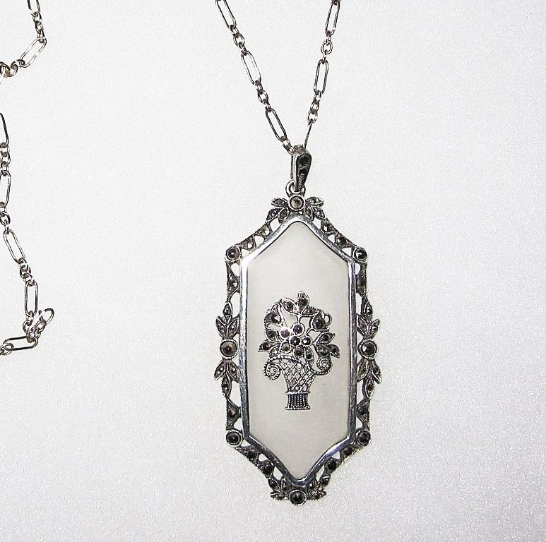 Art Deco Rock Crystal Sterling Pendant Basket Motif
