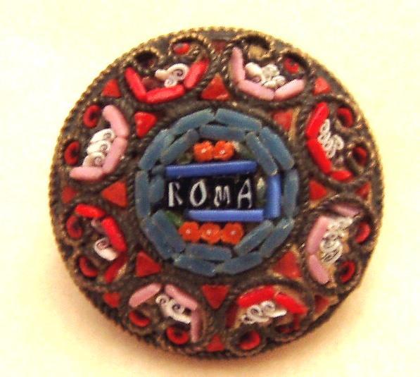 Vintage Italian Mosaic Pin Roma