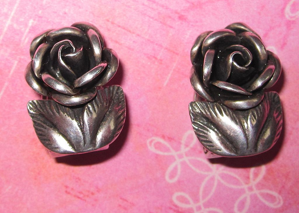 Vintage Silver Roses Clip Earrings