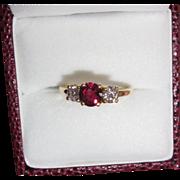 Gorgeous Fine Estate Ruby Diamond Ring 18K Yellow Gold
