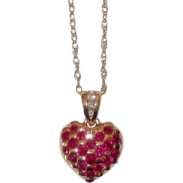 Fine Quality Rubies Diamonds 14K Gold Heart Pendant