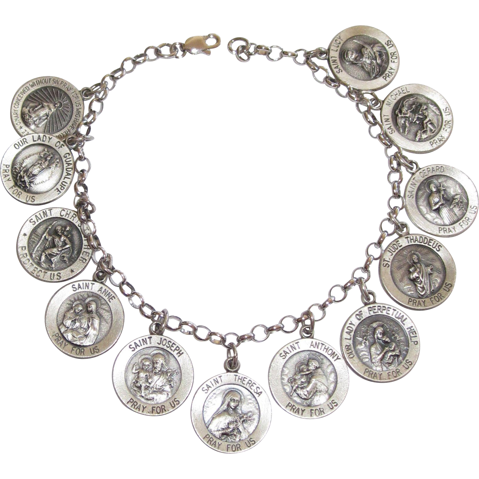 Vintage Sterling All Saints Charm Bracelet Alison Phalan Antiques