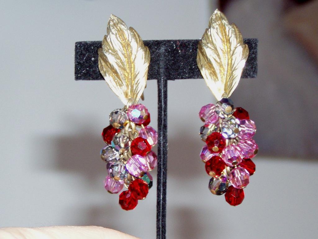 Large Sandor Leaf and Beads Earrings