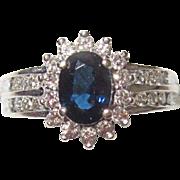Estate Sapphire Diamond Ring 14K White Gold