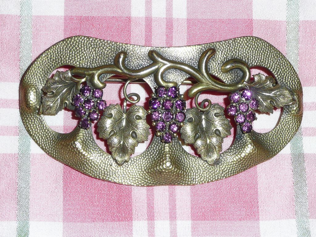 art nouveau grapes motif sash pin from phalan on ruby lane. Black Bedroom Furniture Sets. Home Design Ideas