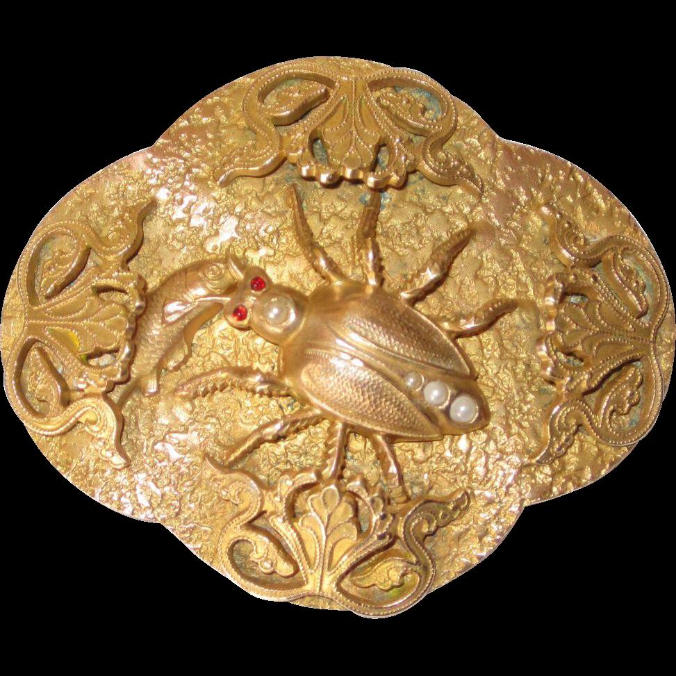 Art Nouveau Sash Pin Beetle or Bug and Fish