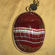 Giant Banded Agate Carved Scarab Pendant