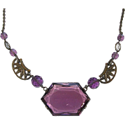 Art Deco Purple Glass Choker