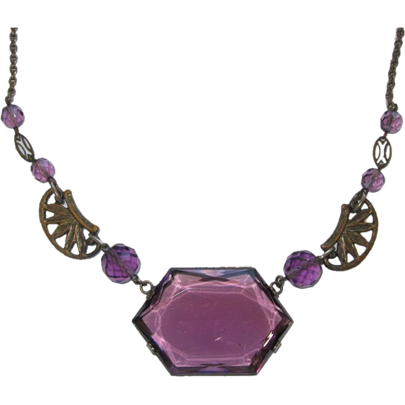 Art Deco Purple Glass Choker