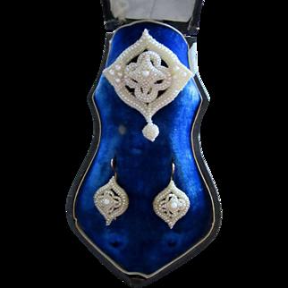 Georgian Seed Pearls Earrings and Brooch Original Presentation Box