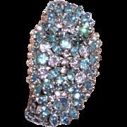Vintage Fantastic Rhinestone Clamper Bracelet with Earrings Lavender Pink Blue