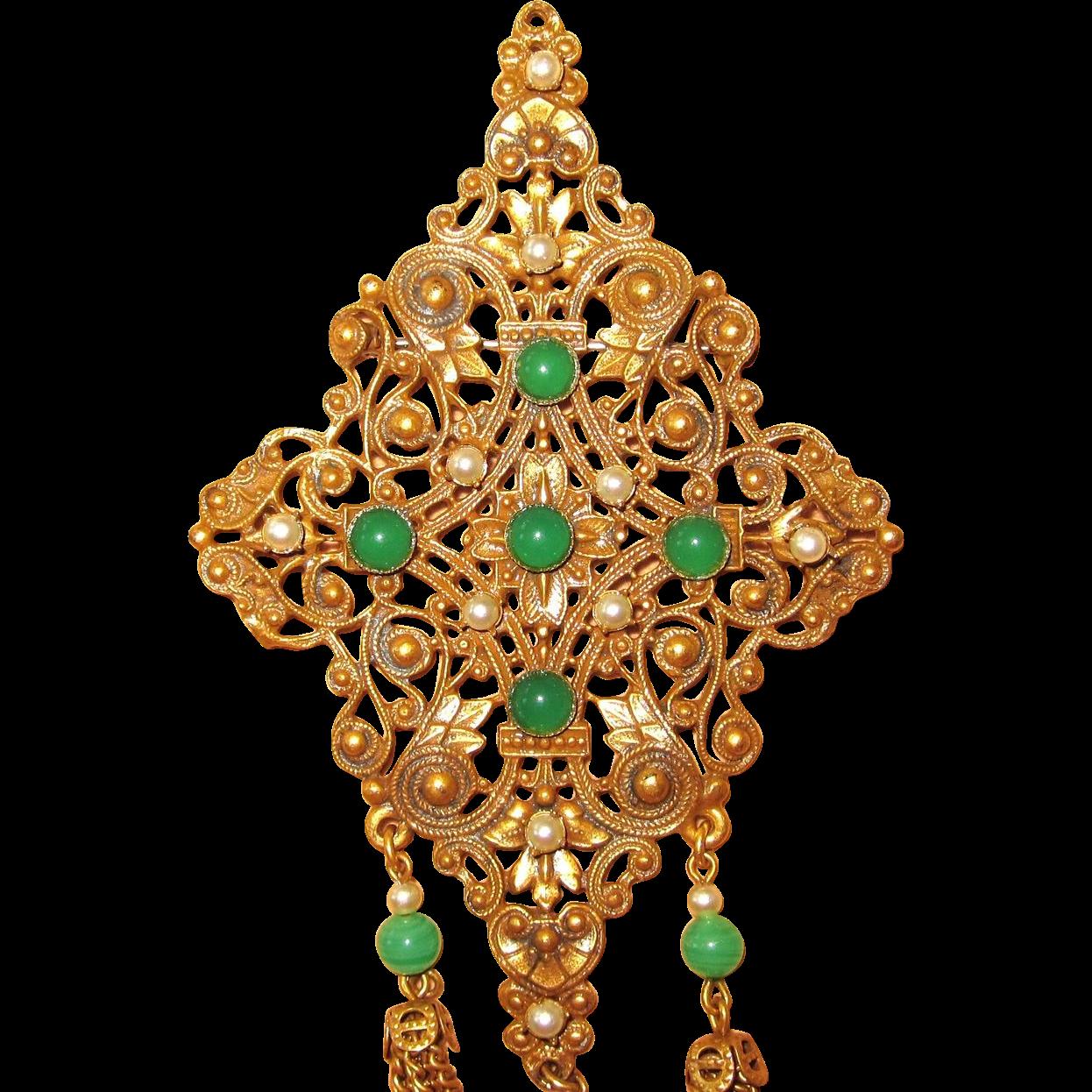Vintage Large Ornate Brooch And Clip Earrings