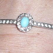 Vintage Silver Bangle Bracelet Rhinestones