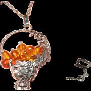 Silver Basket Amber Beads