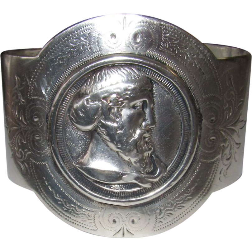 Silver Bracelet Cameo of Man Made From Napkin Ring