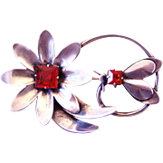 Vintage Sterling Flower and Bug Brooch