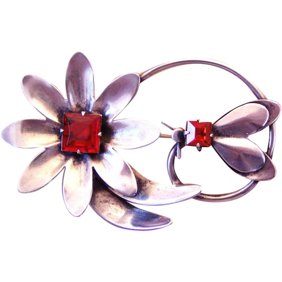 Vintage Sterling Flower and Bug Brooch
