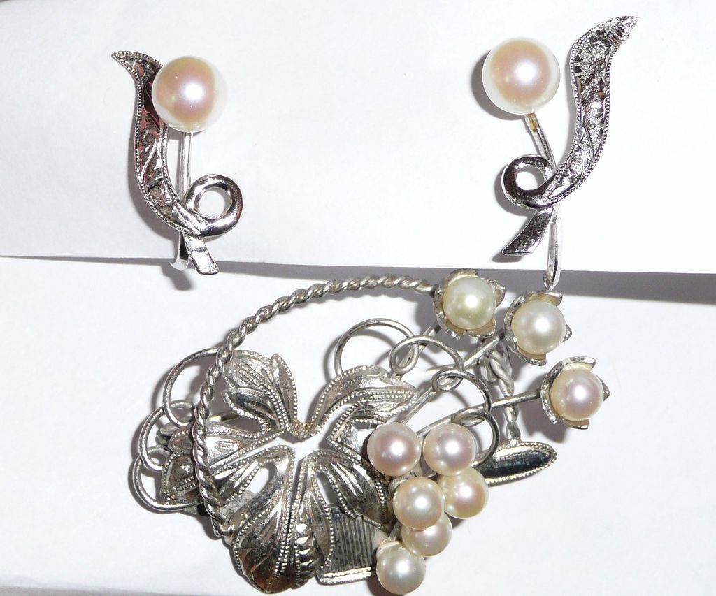 Vintage Silver and Pearls Brooch and Earrings Set