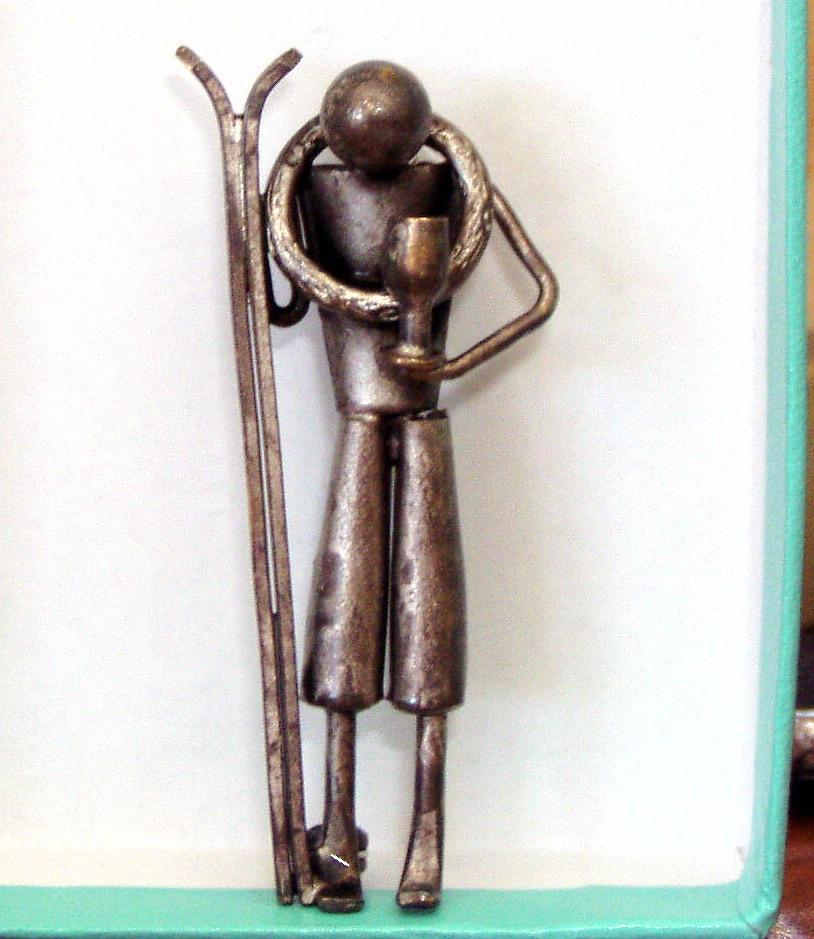 Vintage Czechoslovakian Pin Skier Loving Cup