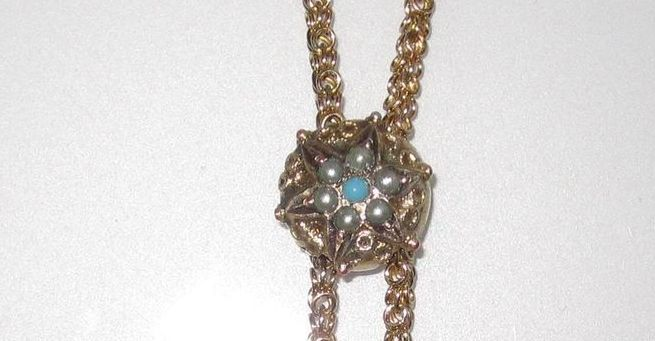 Victorian Slide Chain Star Seed Pearls Turquoise