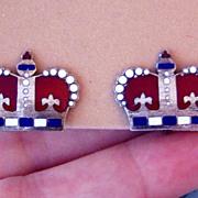 Sterling Enamel Vintage Crown Earrings Red White Blue