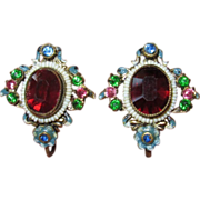 Vintage Czech Filigree Red Glass Floral Enamel Earrings