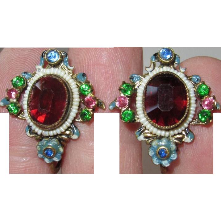 Vintage Czech Filigree Red Glass Floral Enamel Earrings