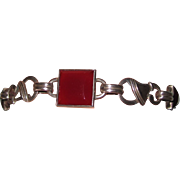 Arts & Crafts Carnelian Sterling Bracelet