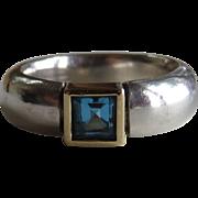 Estate Sterling Blue Topaz Heavy Band Ring