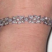Vintage Sterling Rhinestone Bracelet