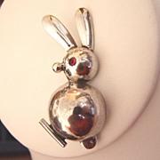 Mid Century Modern Sterling Rabbit Brooch