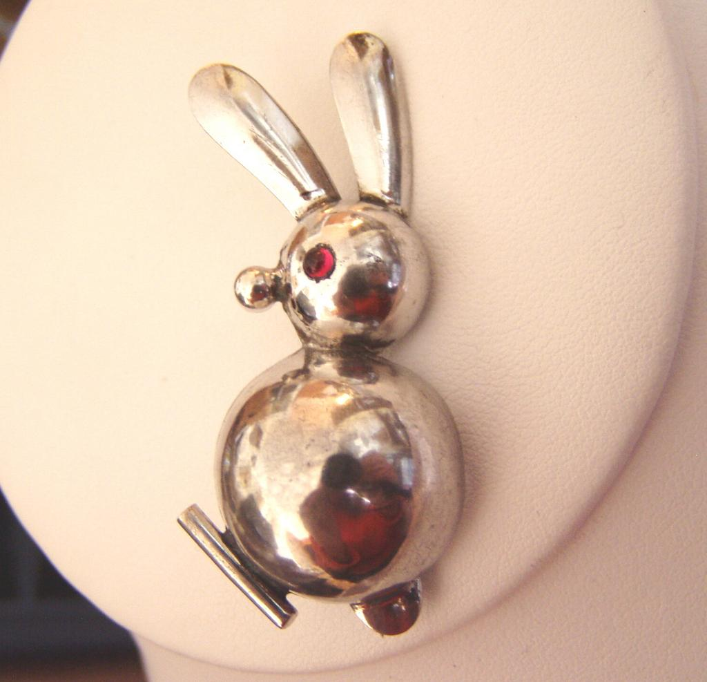 Mid Century Modern Sterling Rabbit Brooch